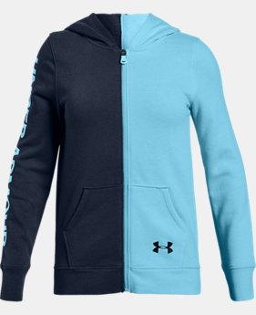 Girls' UA Rival Fleece Full Zip Hoodie  1  Color Available $45