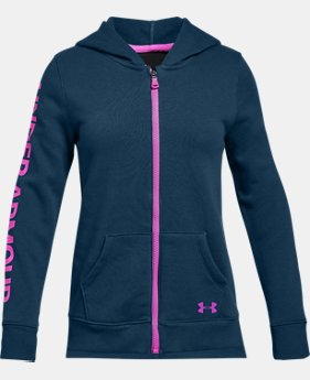 Girls' UA Rival Fleece Full Zip Hoodie  3  Colors Available $38.5