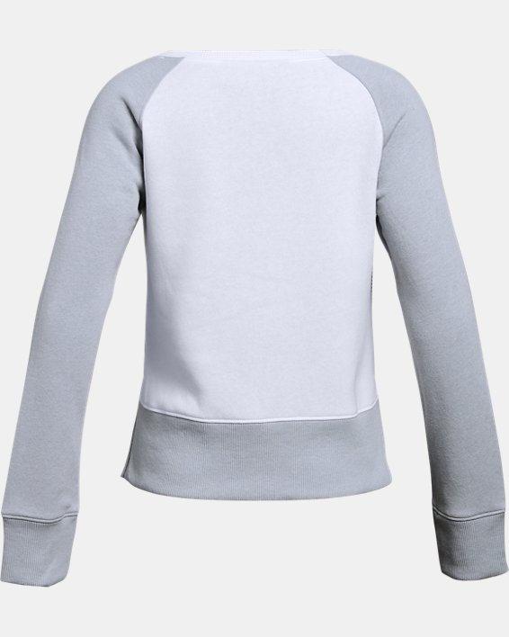 Girls' UA Rival Fleece Crew, White, pdpMainDesktop image number 1