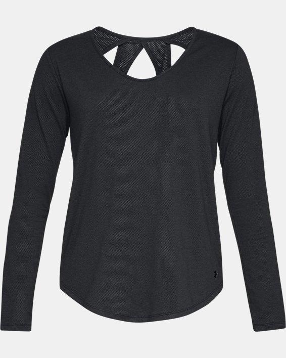 Women's UA Pindot Open Back Long Sleeve, Black, pdpMainDesktop image number 3