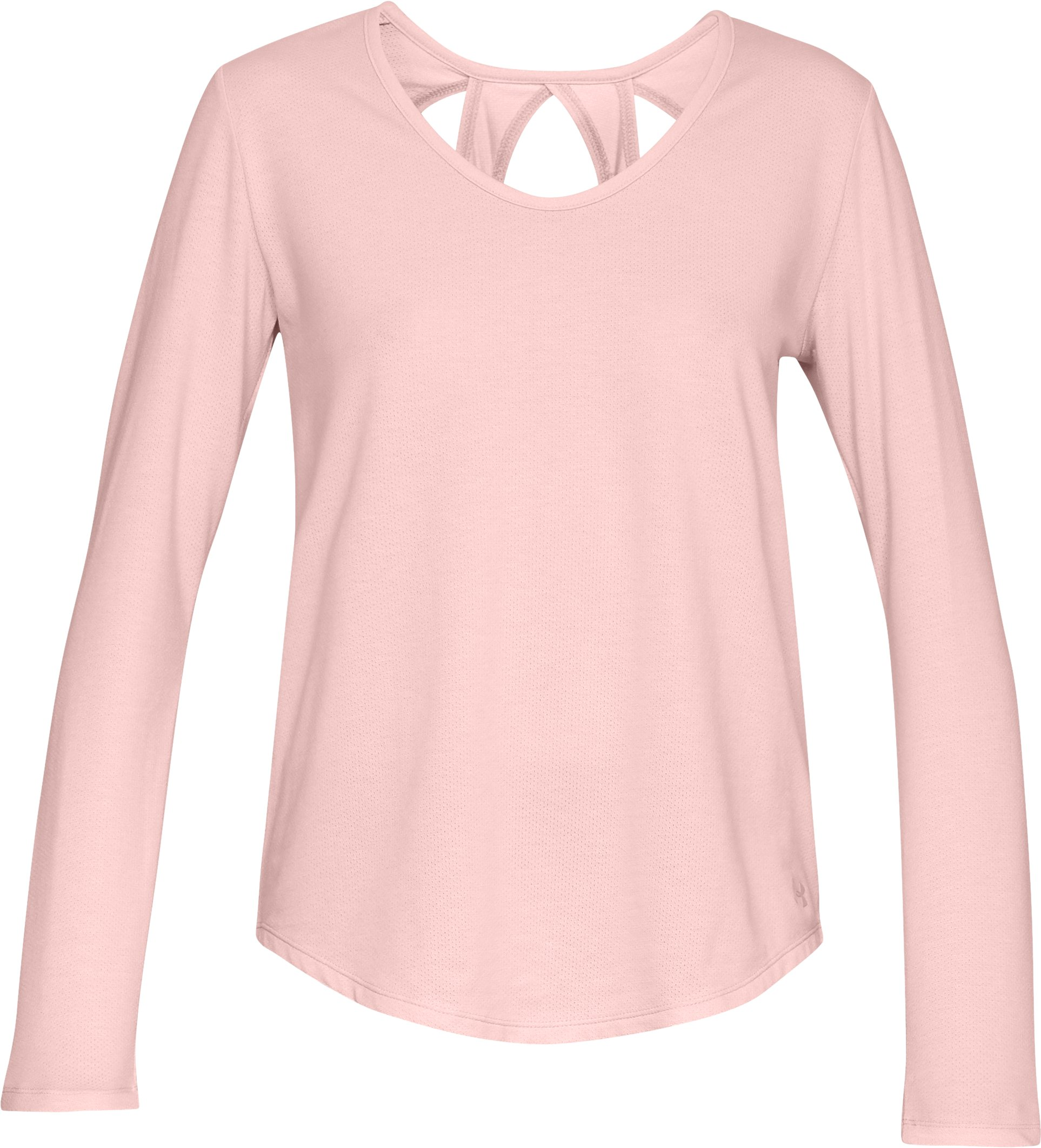 Women's UA Pindot Open Back Long Sleeve, Flushed Pink,