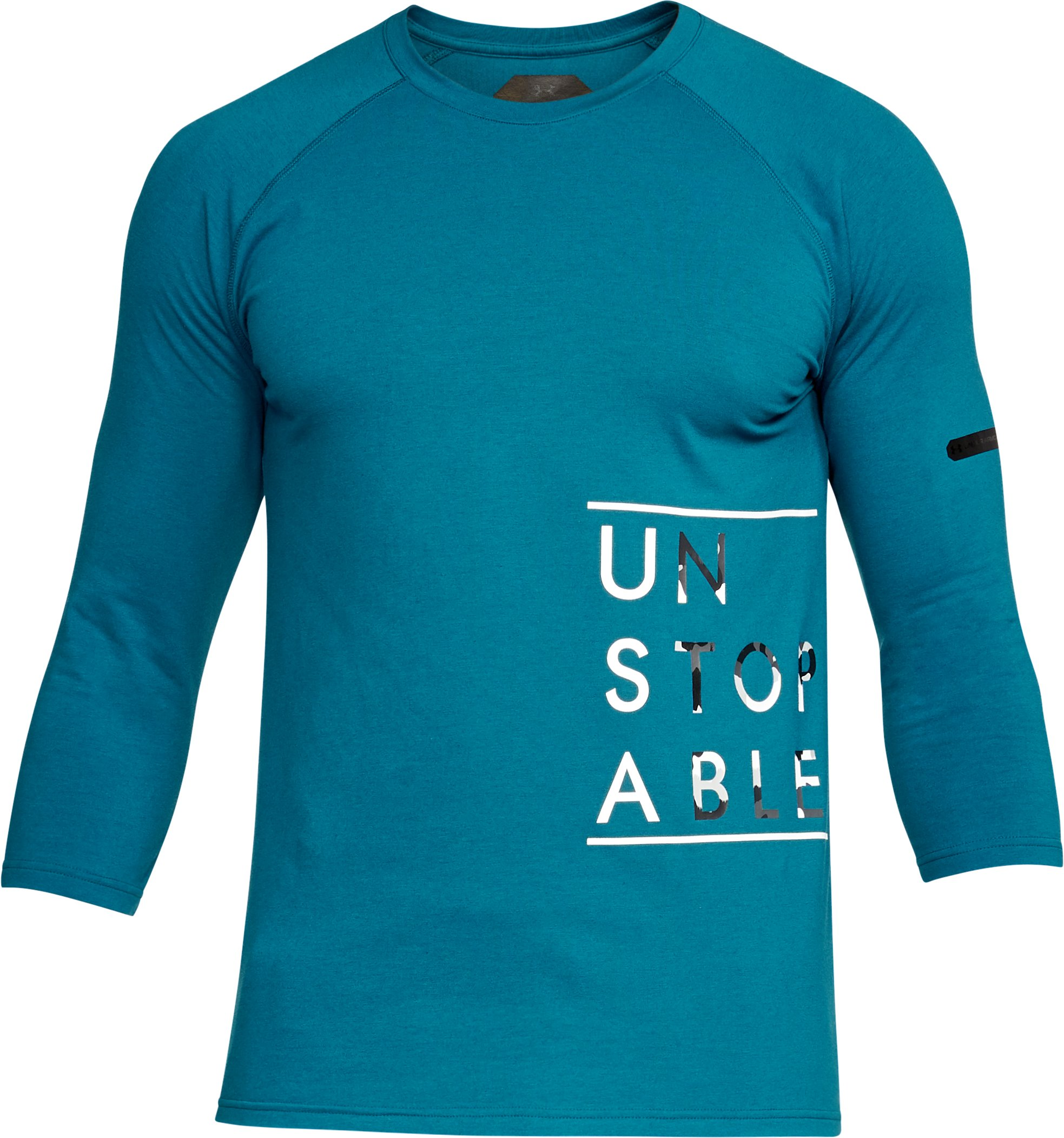 Men's UA Unstoppable ¾ Sleeve T-Shirt, OCEAN BLUE,