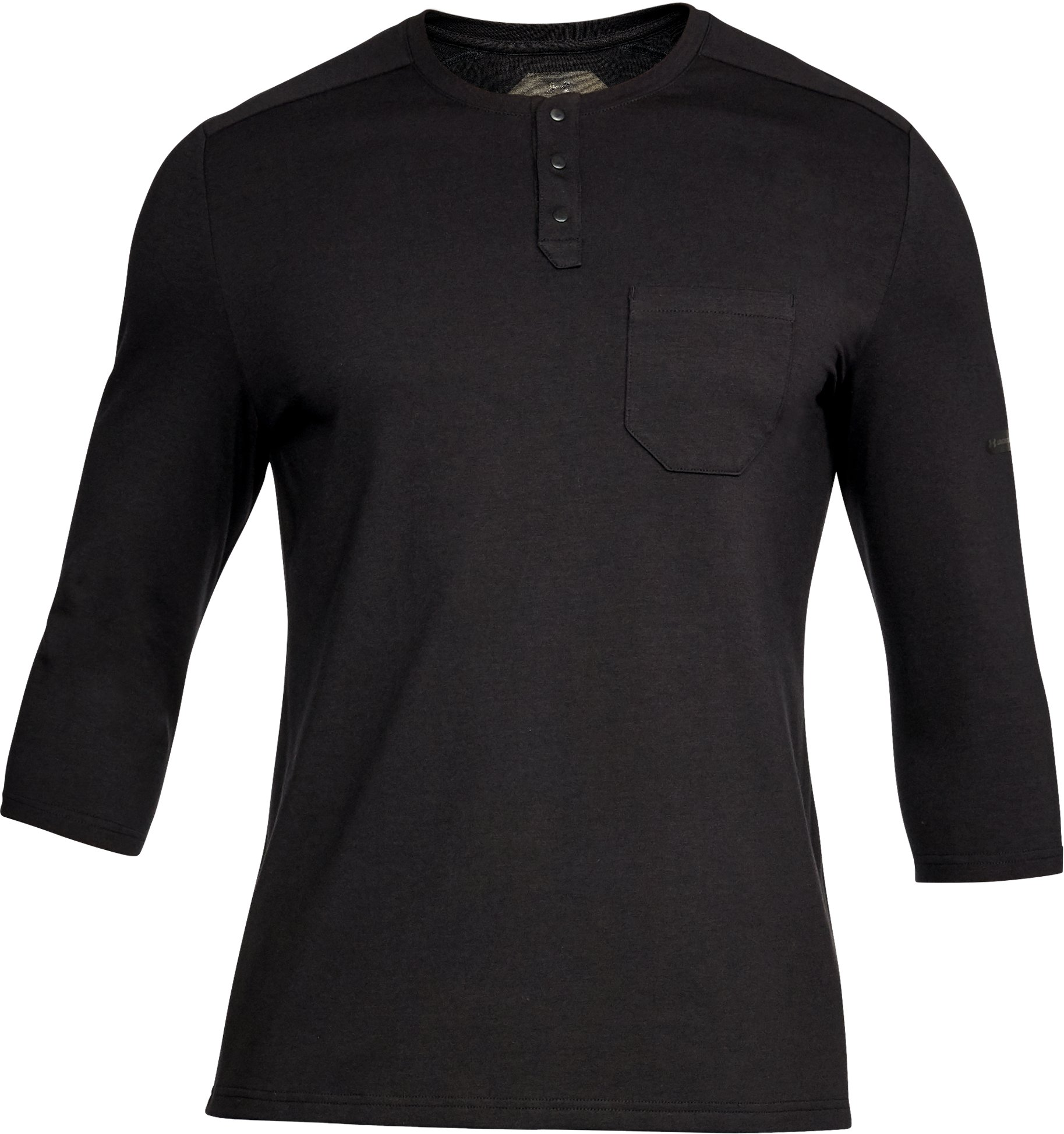 Men's UA Unstoppable Knit ¾ Utility Henley, Black , undefined