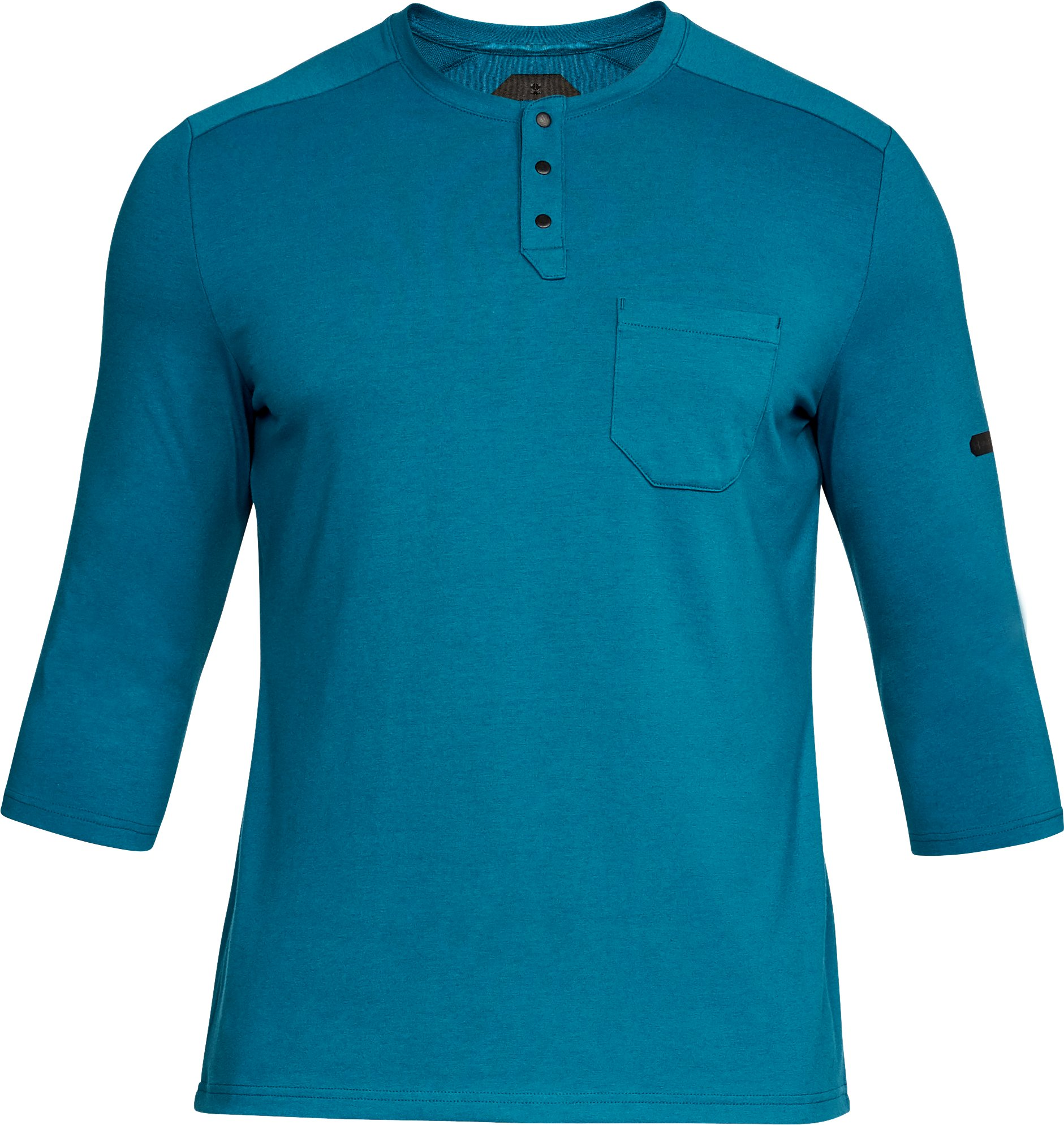 Men's UA Unstoppable Knit ¾ Utility Henley, OCEAN BLUE, undefined
