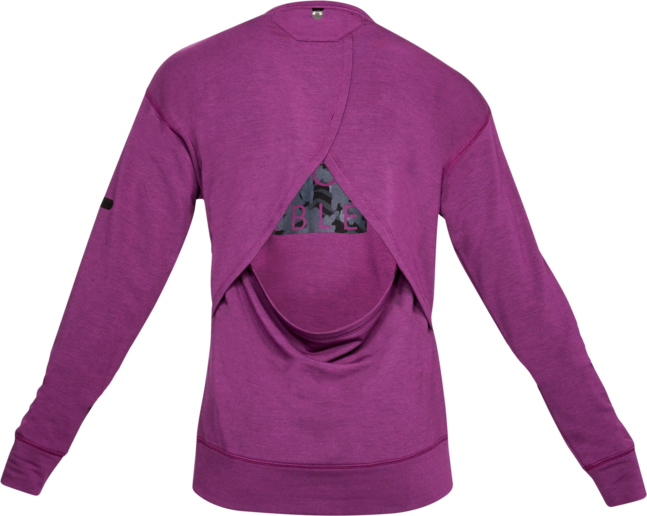 Women's UA Unstoppable Knit Crew, PURPLE SORBET,