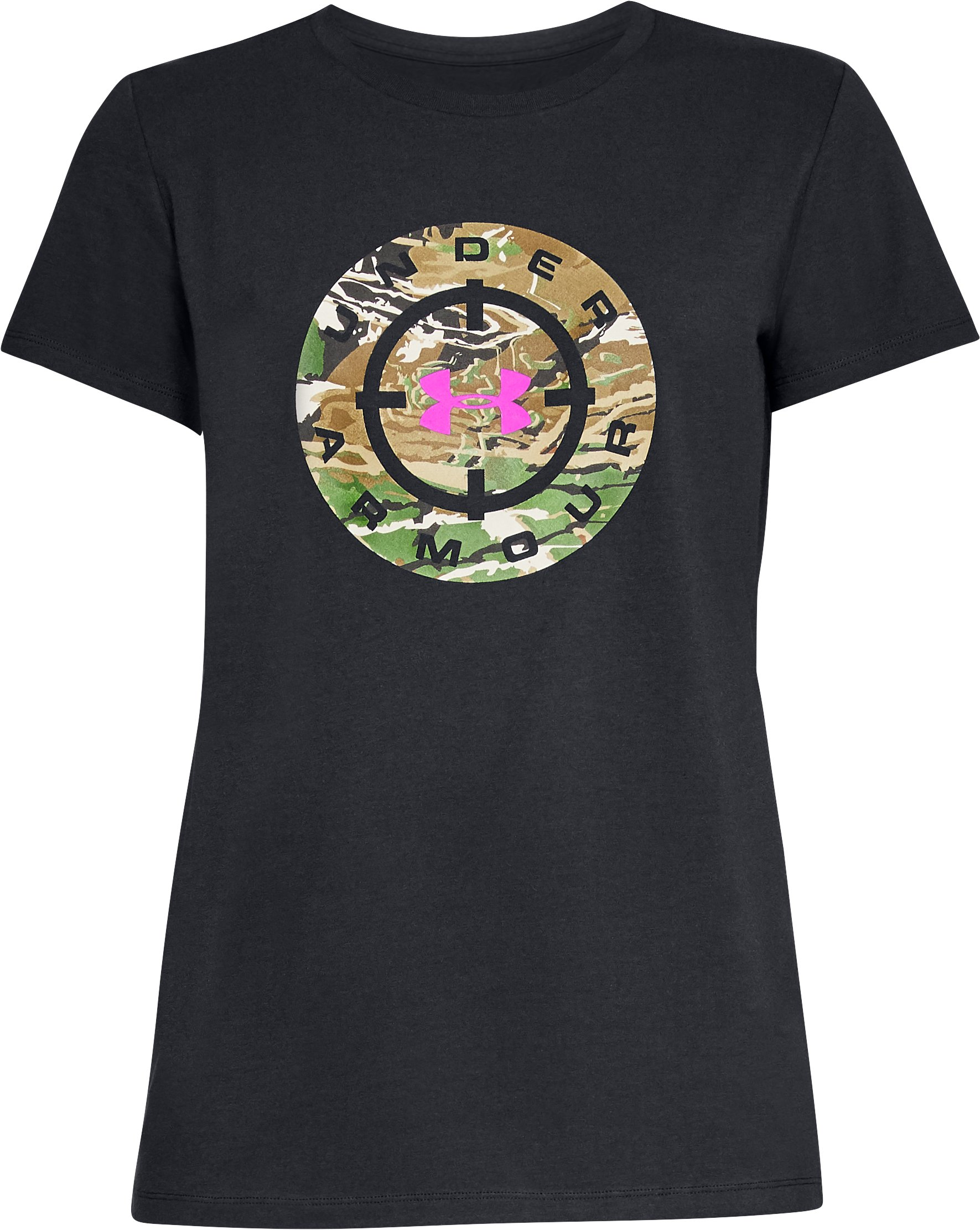 Women's UA Banded Camo T-Shirt, Black ,