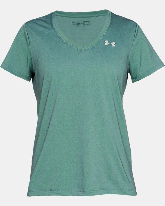 Women's UA Tech™ Color Shift V-neck Short Sleeve, Green, pdpMainDesktop image number 3