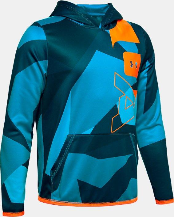 Boys' Armour Fleece® Big Logo Printed Hoodie, Blue, pdpMainDesktop image number 0