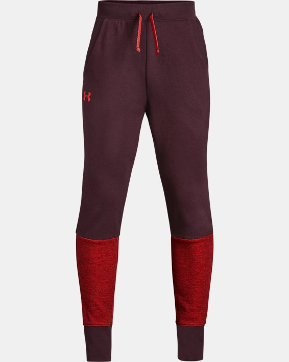 Boys' UA Double Knit Pants - Tapered, Red, pdpMainDesktop image number 0