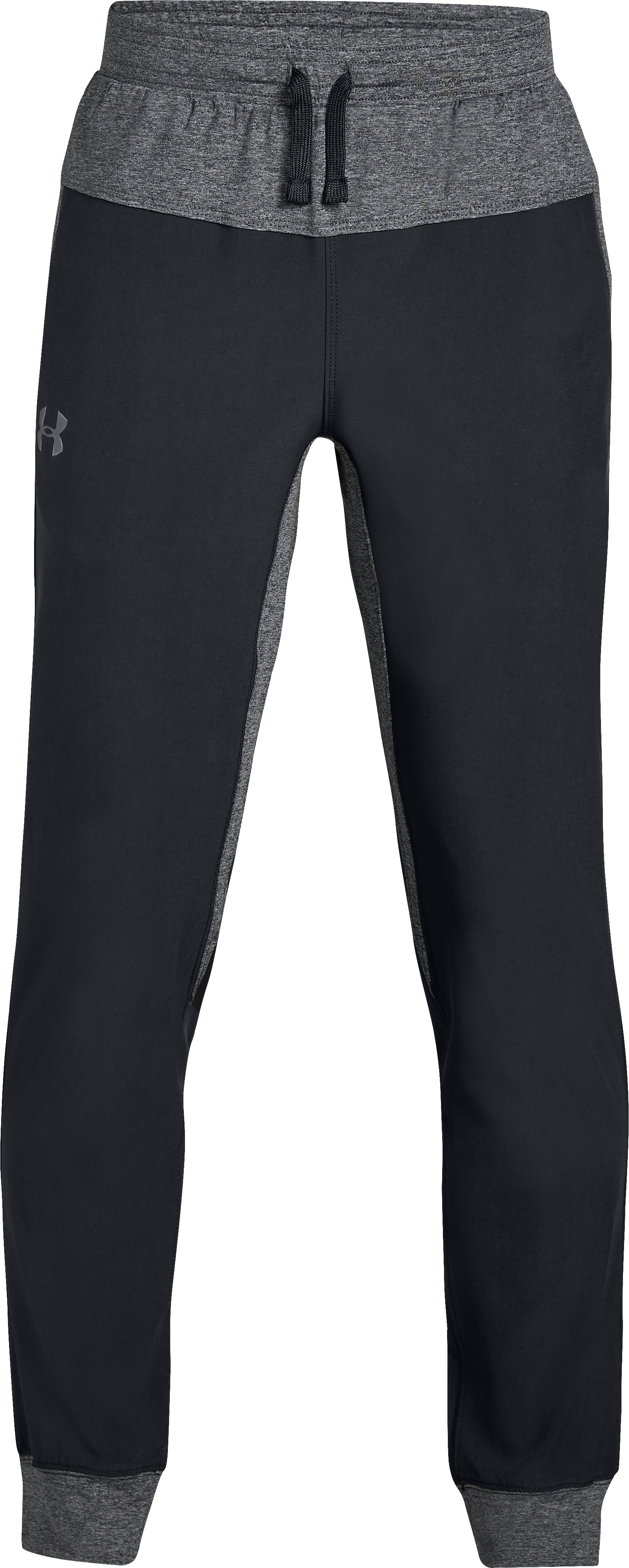 Boys' UA Woven Warm Up Joggers, Black