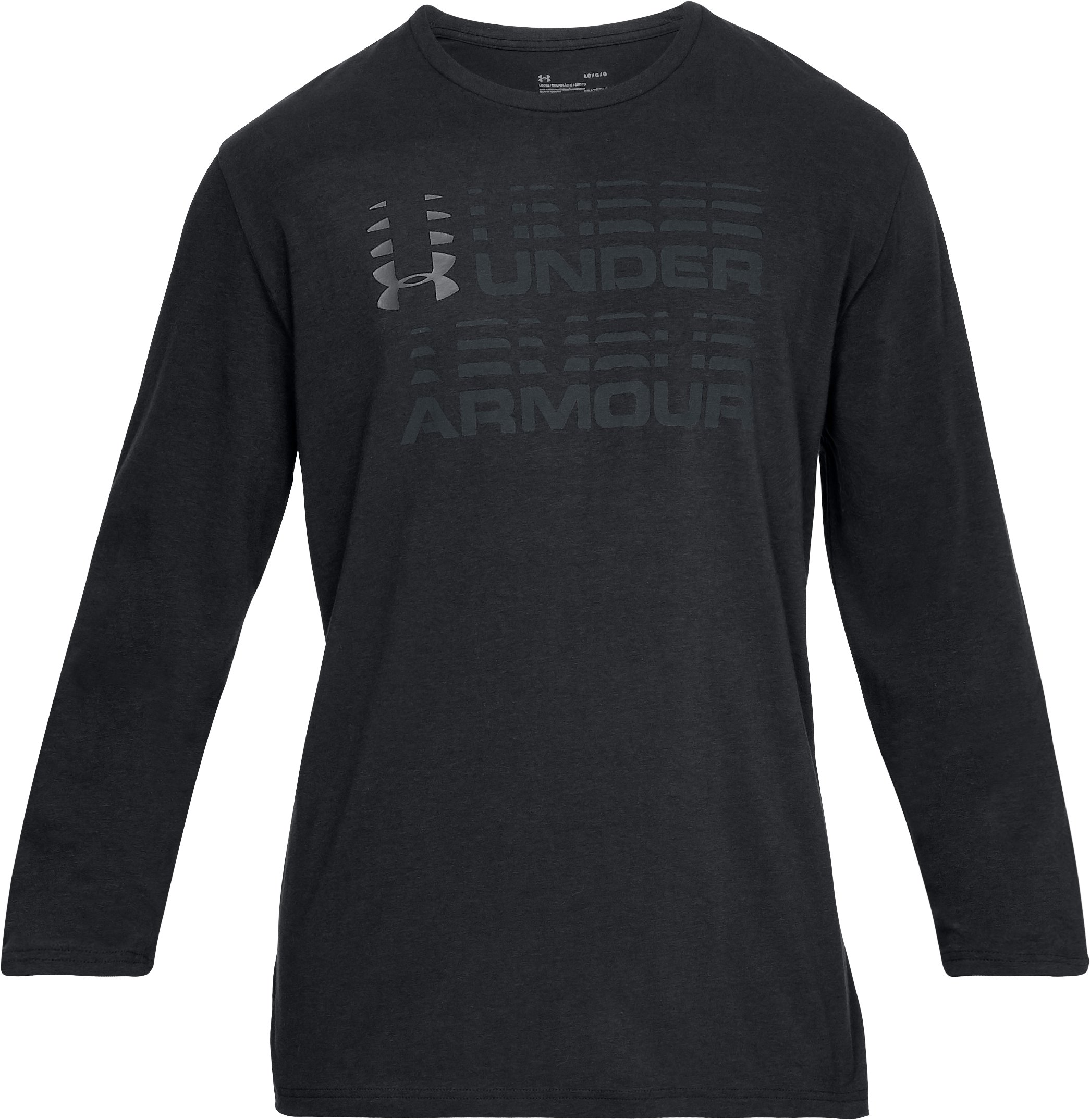 Men's UA Wordmark Glitch Long Sleeve, Black ,