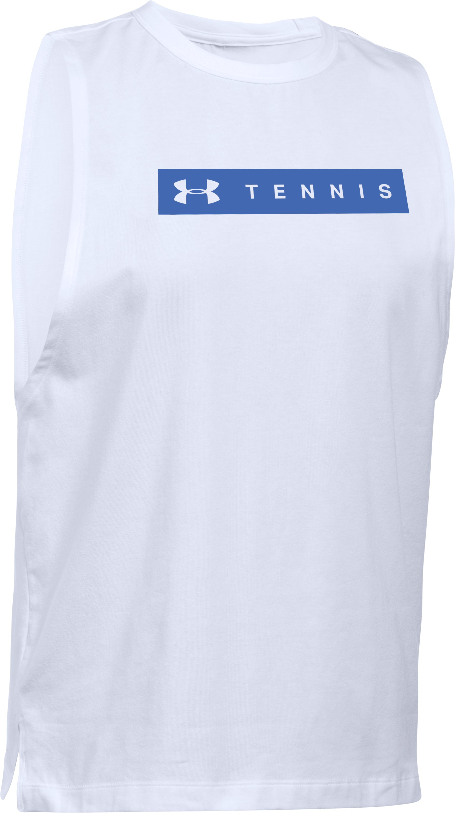 Women's Tennis Big Logo Muscle T, White,