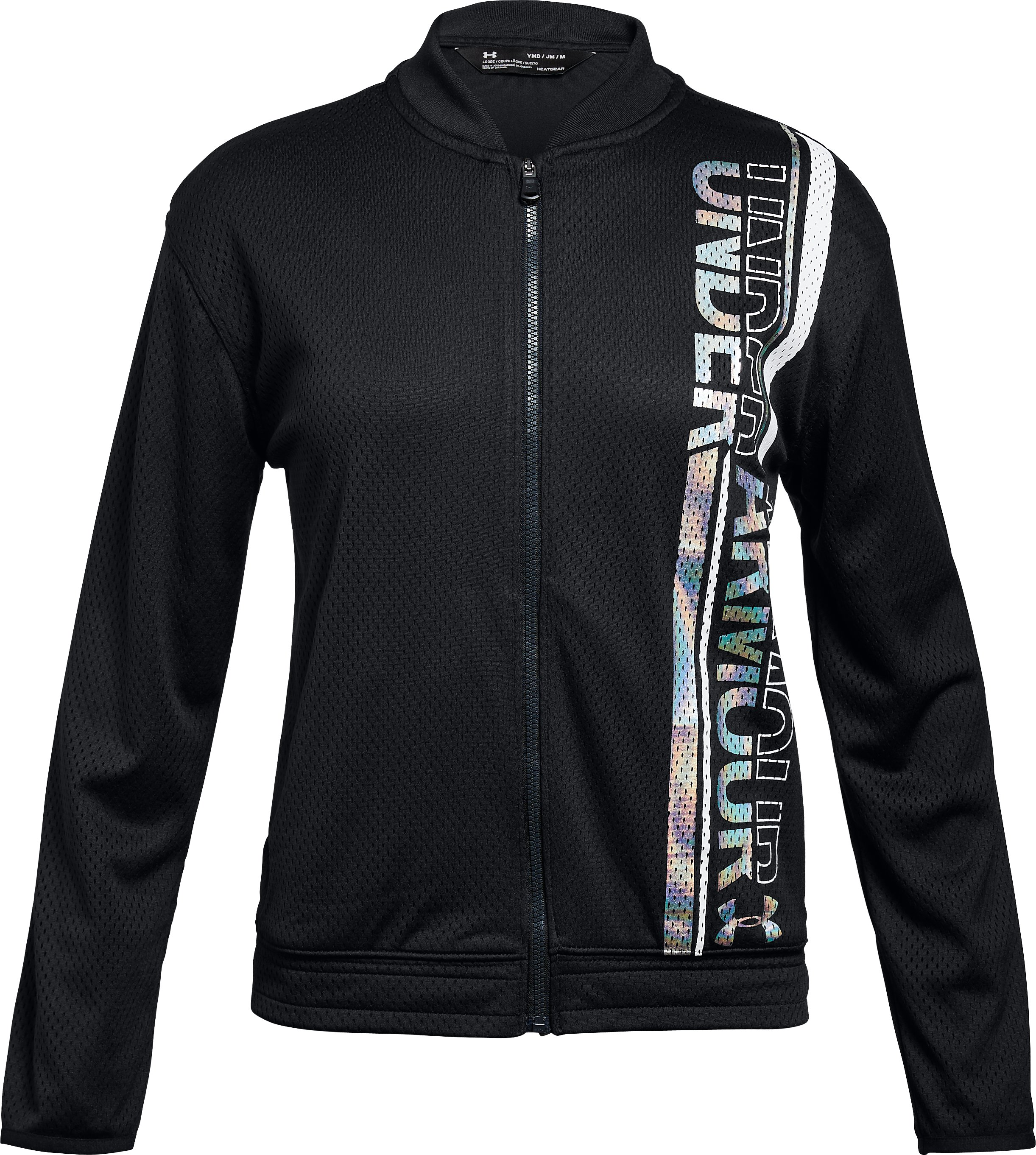 Girls' UA Varsity Bomber Jacket, Black ,