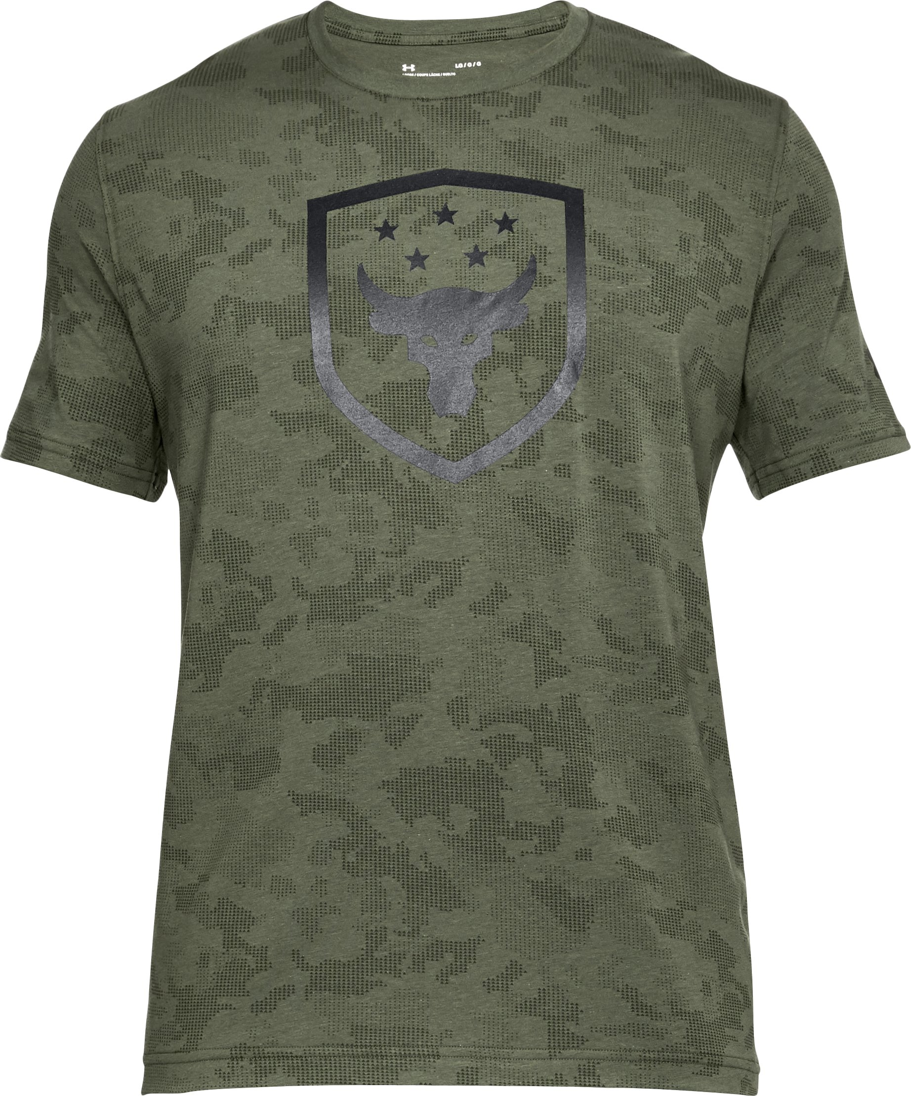 Men's UA x Project Rock Bull Shield T-Shirt, DOWNTOWN GREEN, undefined