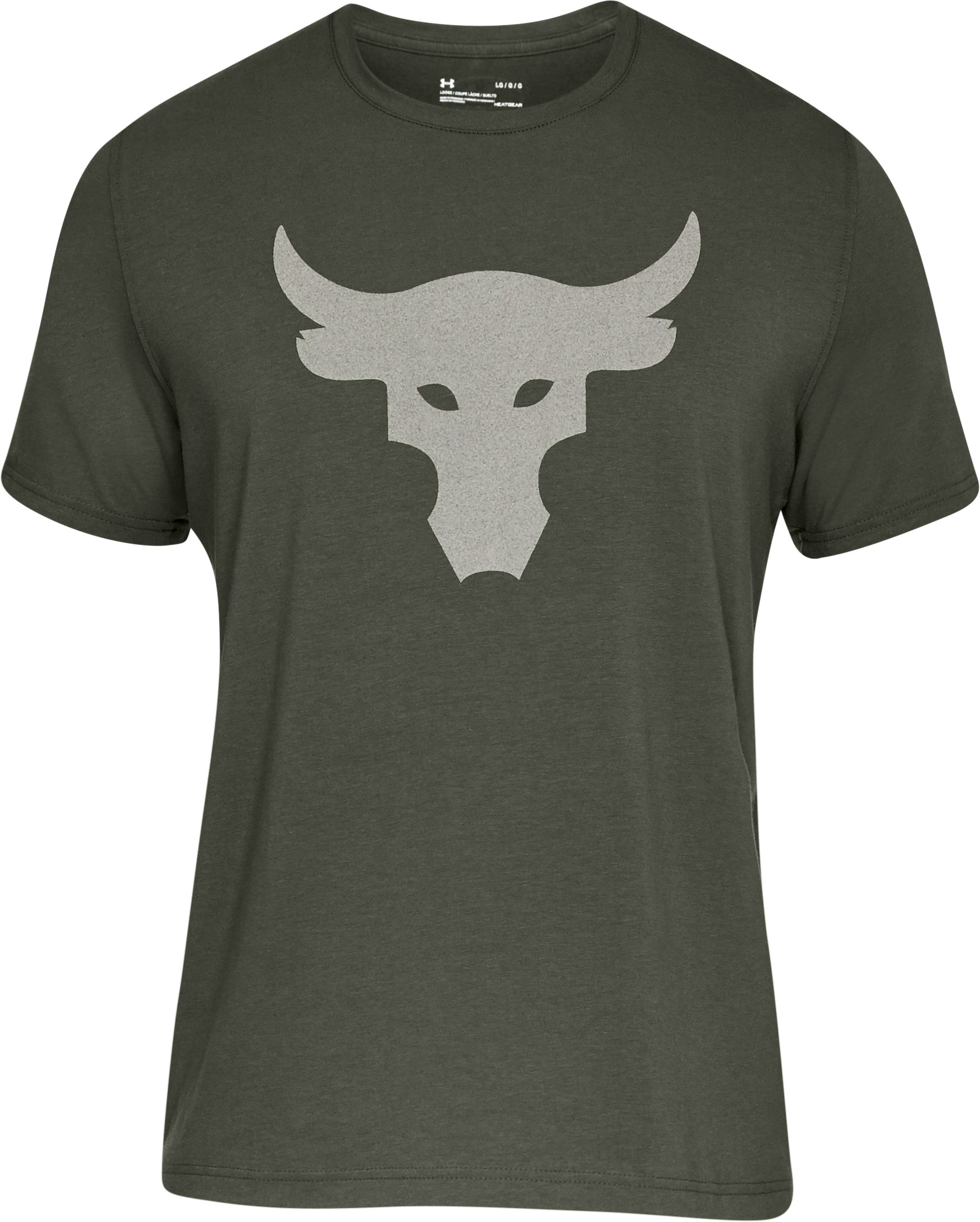 Men's UA x Project Rock Stealth Bull T-Shirt, DOWNTOWN GREEN, undefined