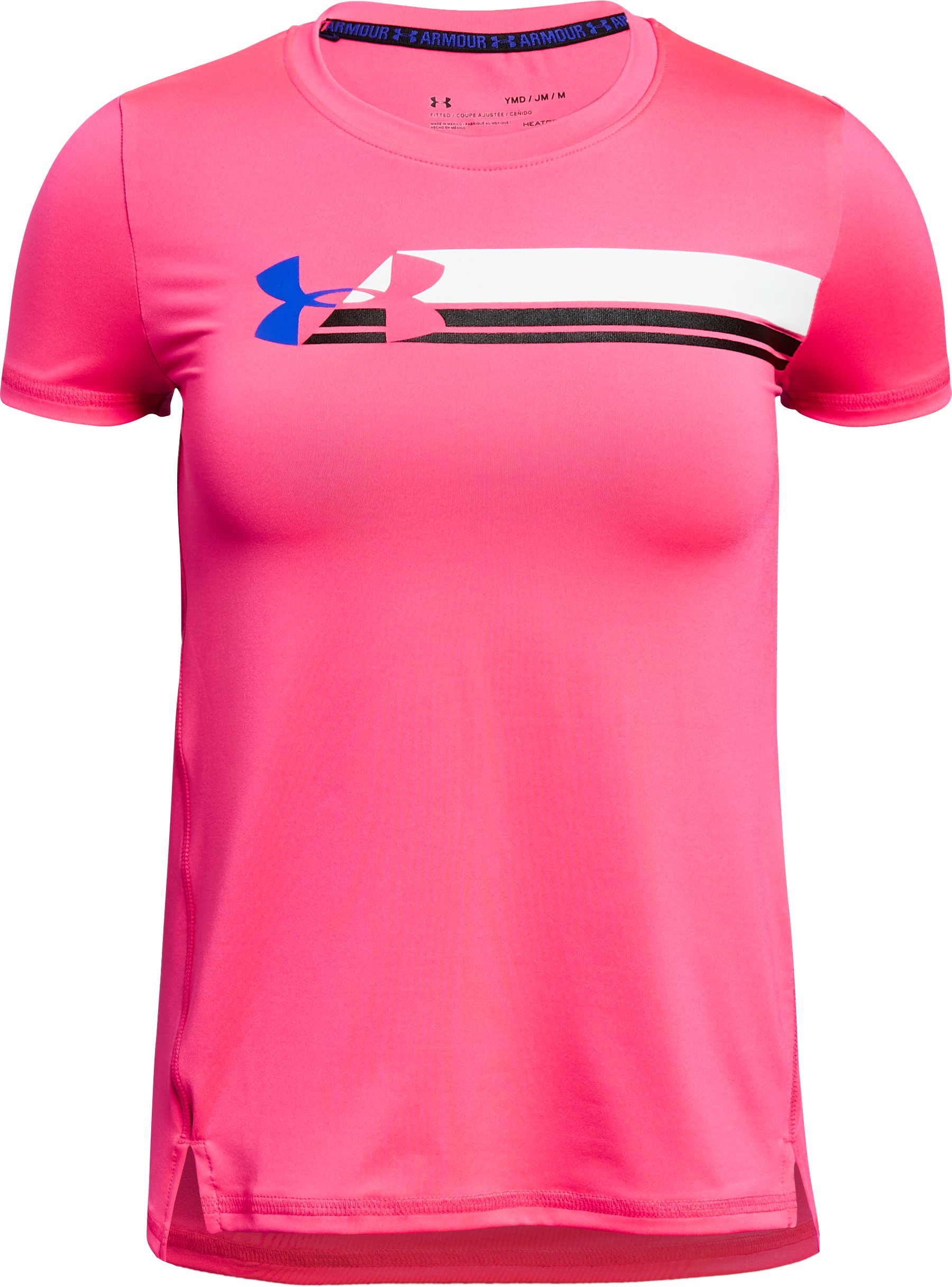 Girls' HeatGear® Armour Short Sleeve, PENTA PINK,