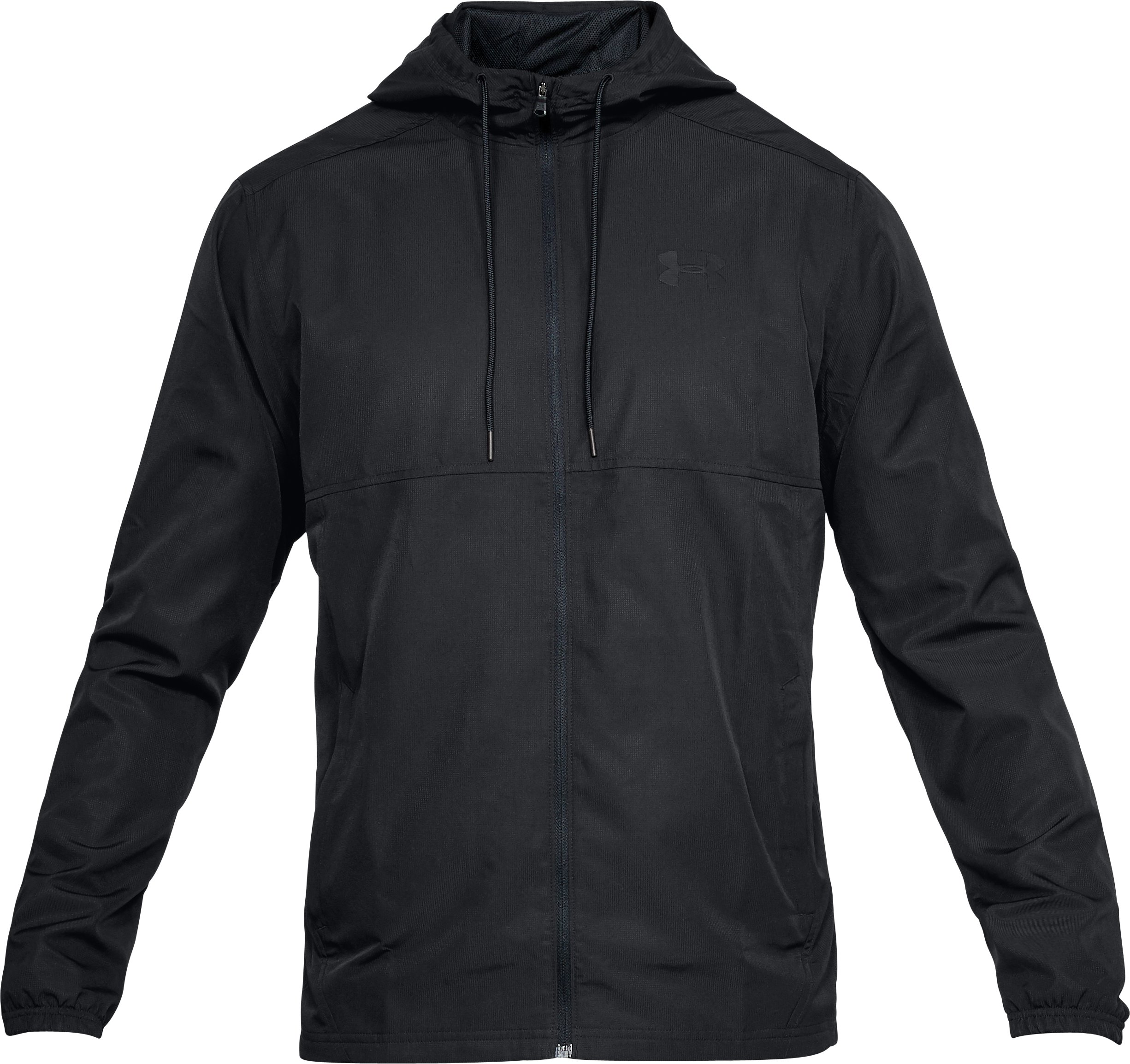 Men's UA Sportstyle Woven Full Zip Hoodie, Black ,