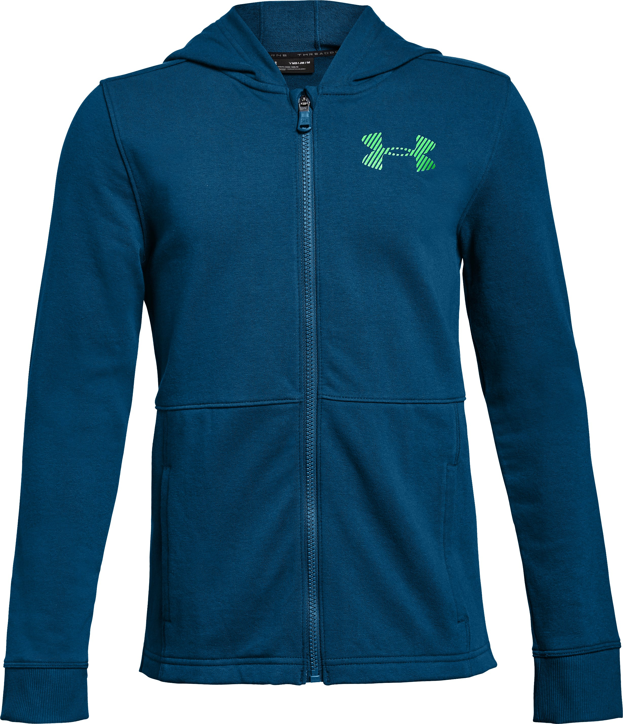 Boys' UA Threadborne Terry Full Zip Hoodie, MOROCCAN BLUE, zoomed