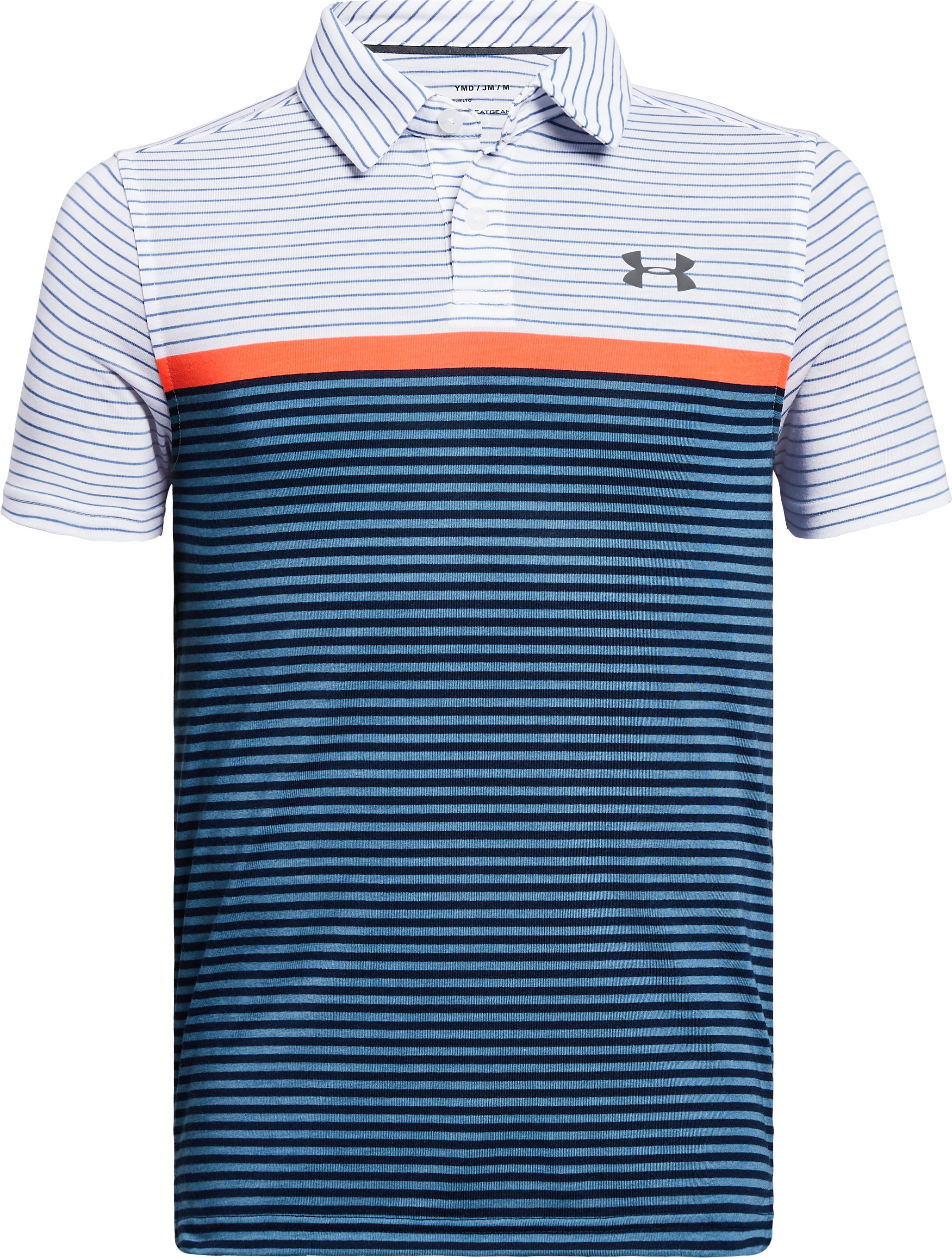 Boys' UA Threadborne JS Super Stripe Polo, White