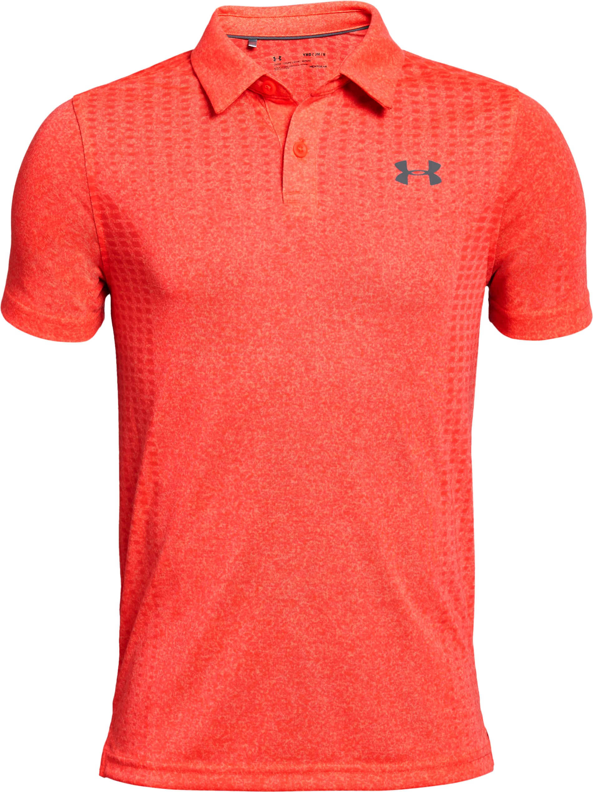 Boys' UA Threadborne JS Outer Glow Polo, NEON CORAL