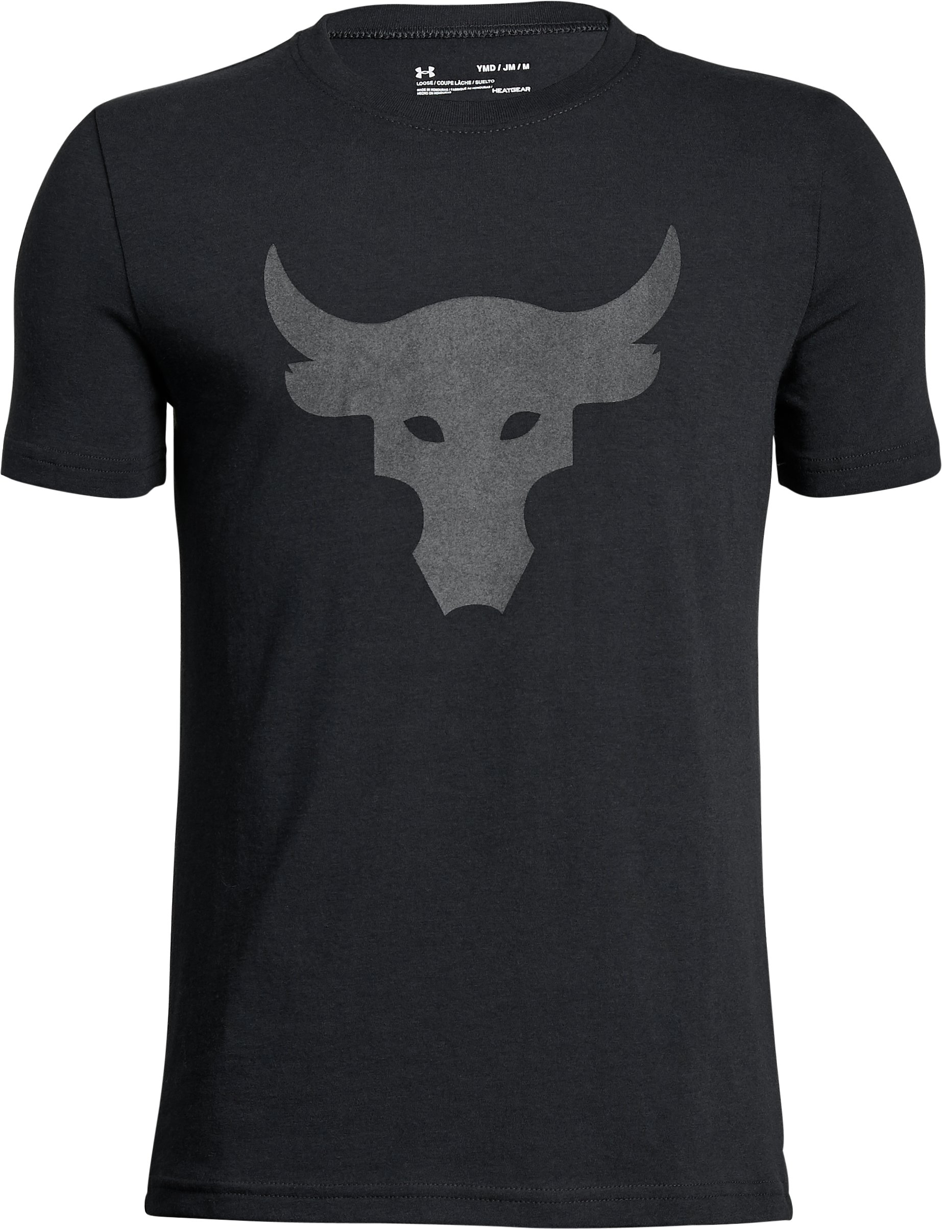 Boys' UA x Project Rock Stealth Bull T-Shirt, Black ,