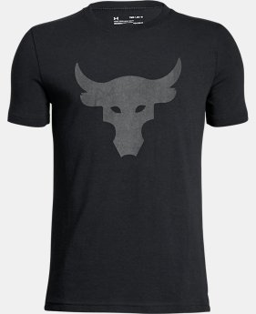 New Arrival Boys' UA x Project Rock Stealth Bull T-Shirt  1 Color $24.99