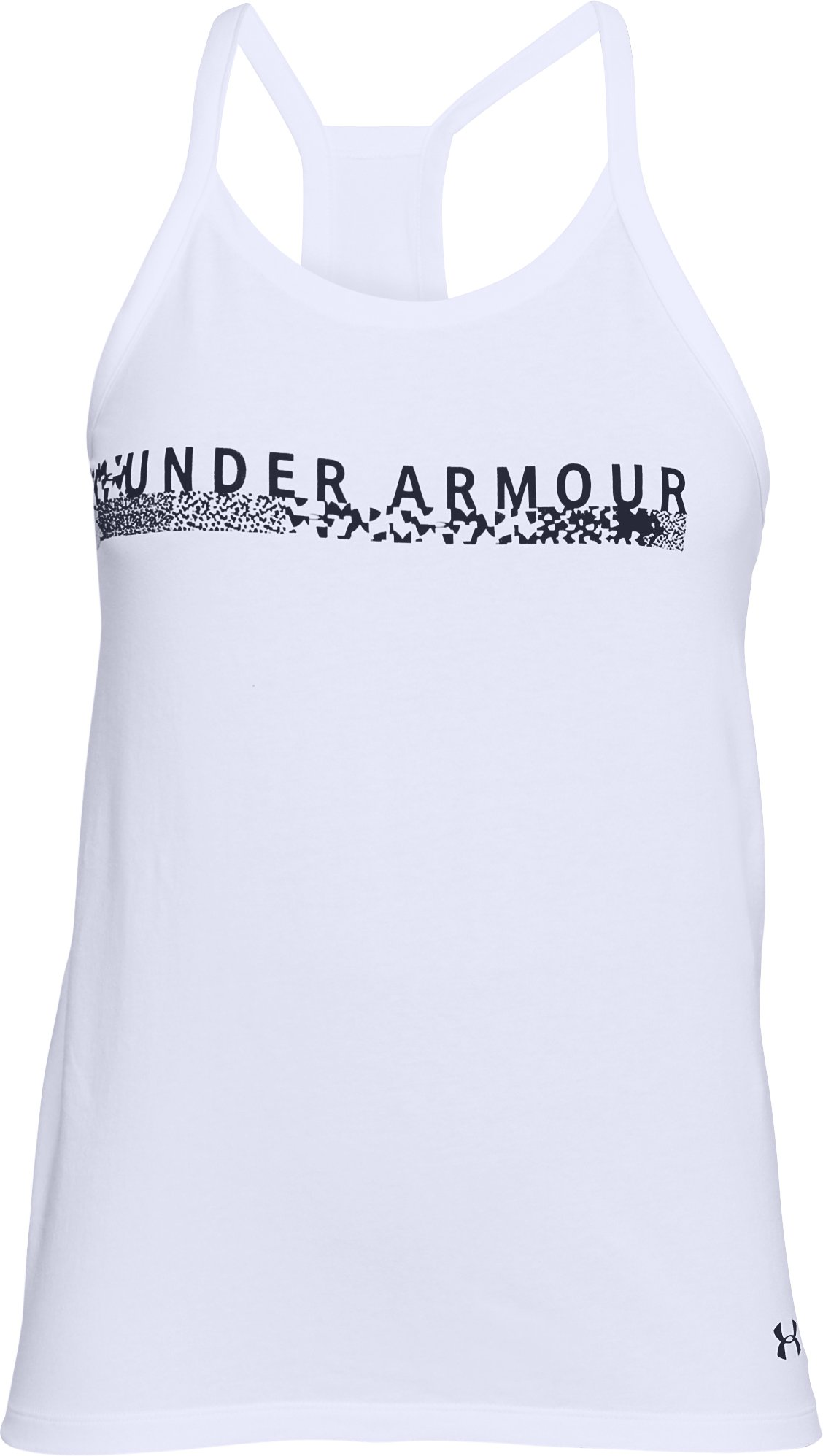 Women's UA Metallic Bar Tank, White,