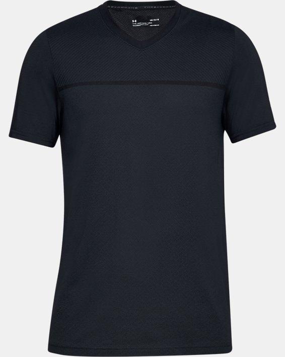 Men's UA Vanish Seamless Short Sleeve V-Neck, Black, pdpMainDesktop image number 4
