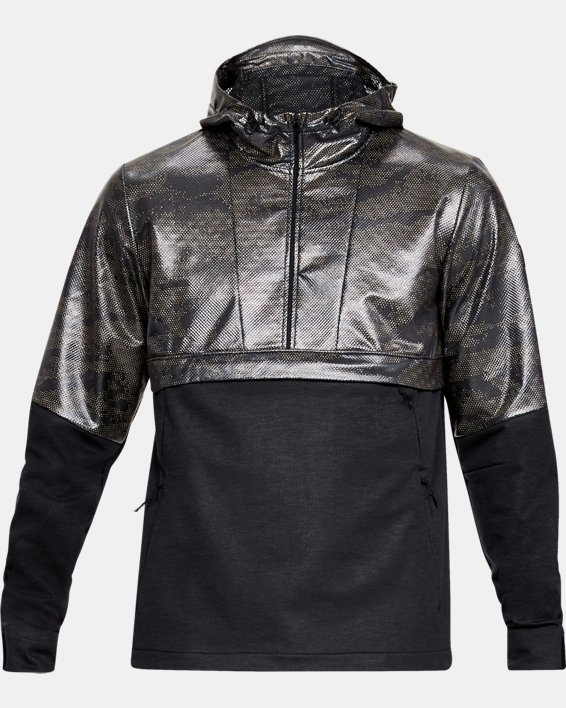 Men's UA Hybrid Anorak Windbreaker, Black, pdpMainDesktop image number 4