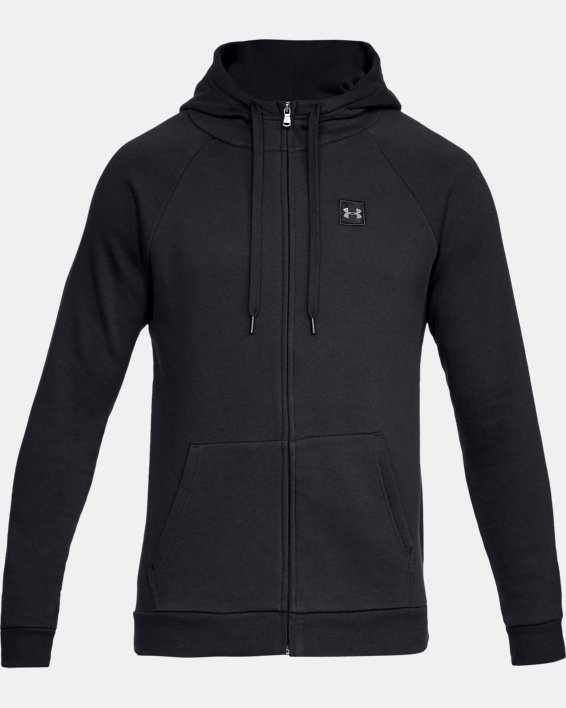 Men's UA Rival Fleece Full-Zip, Black, pdpMainDesktop image number 3