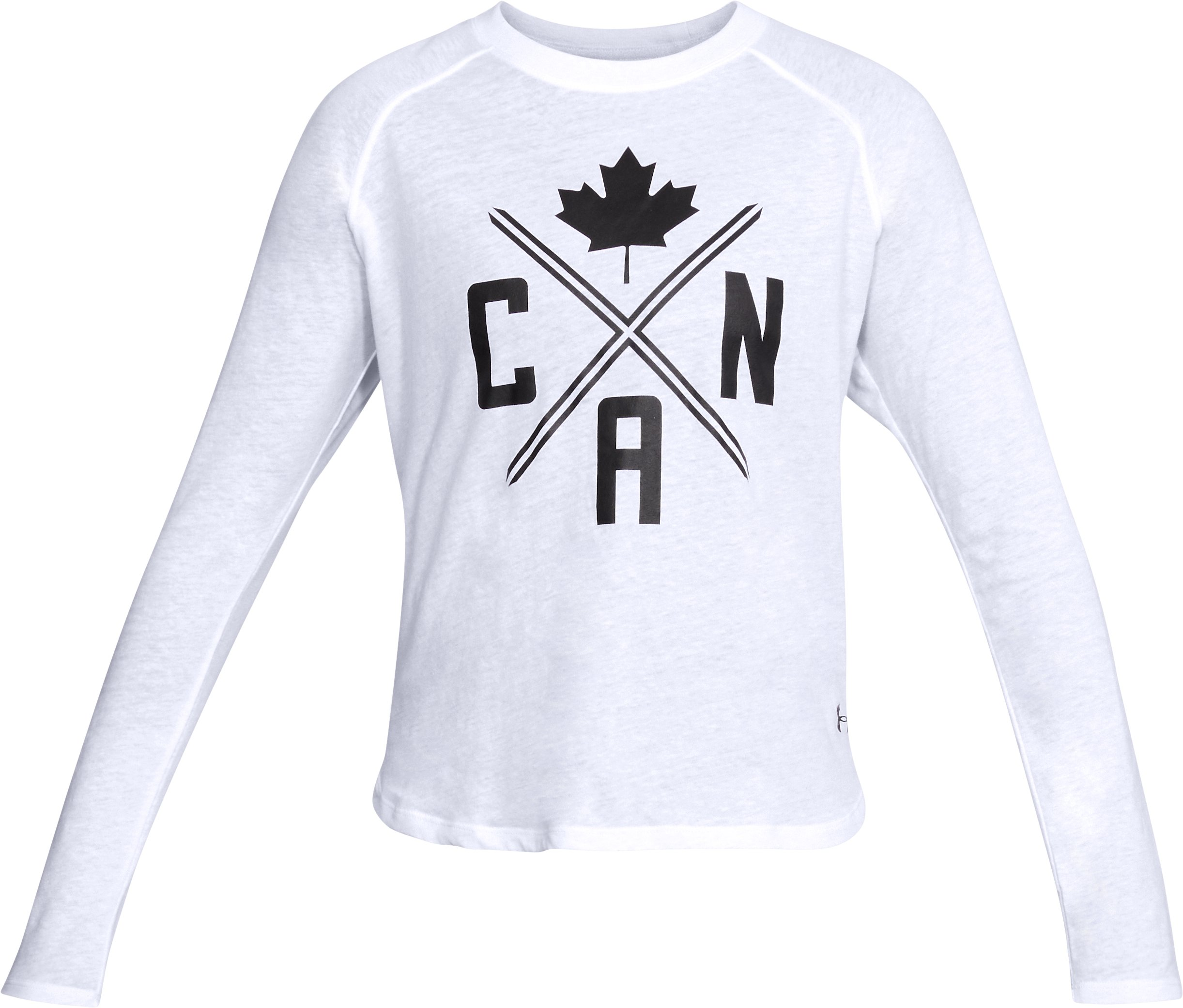 Women's UA Team Canada Performance Tri-Blend Graphic Long Sleeve, White,
