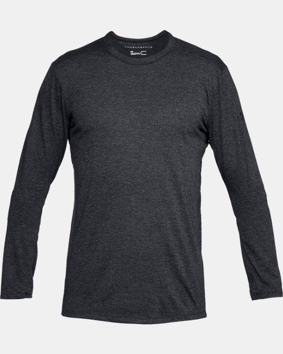 Men's UA Microthread Long Sleeve, Black, pdpMainDesktop image number 3