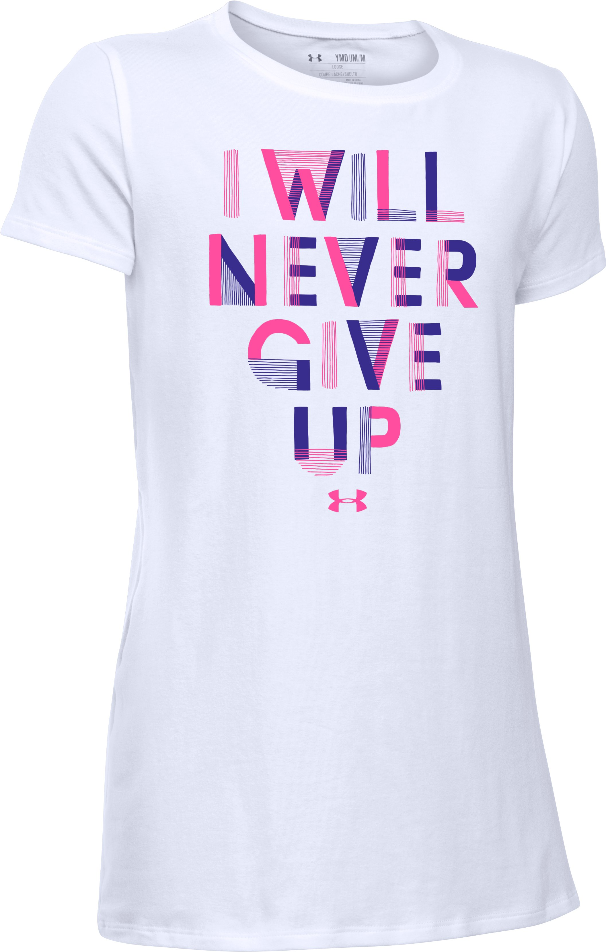 Girls' UA Never Give Up T-Shirt, White, zoomed image