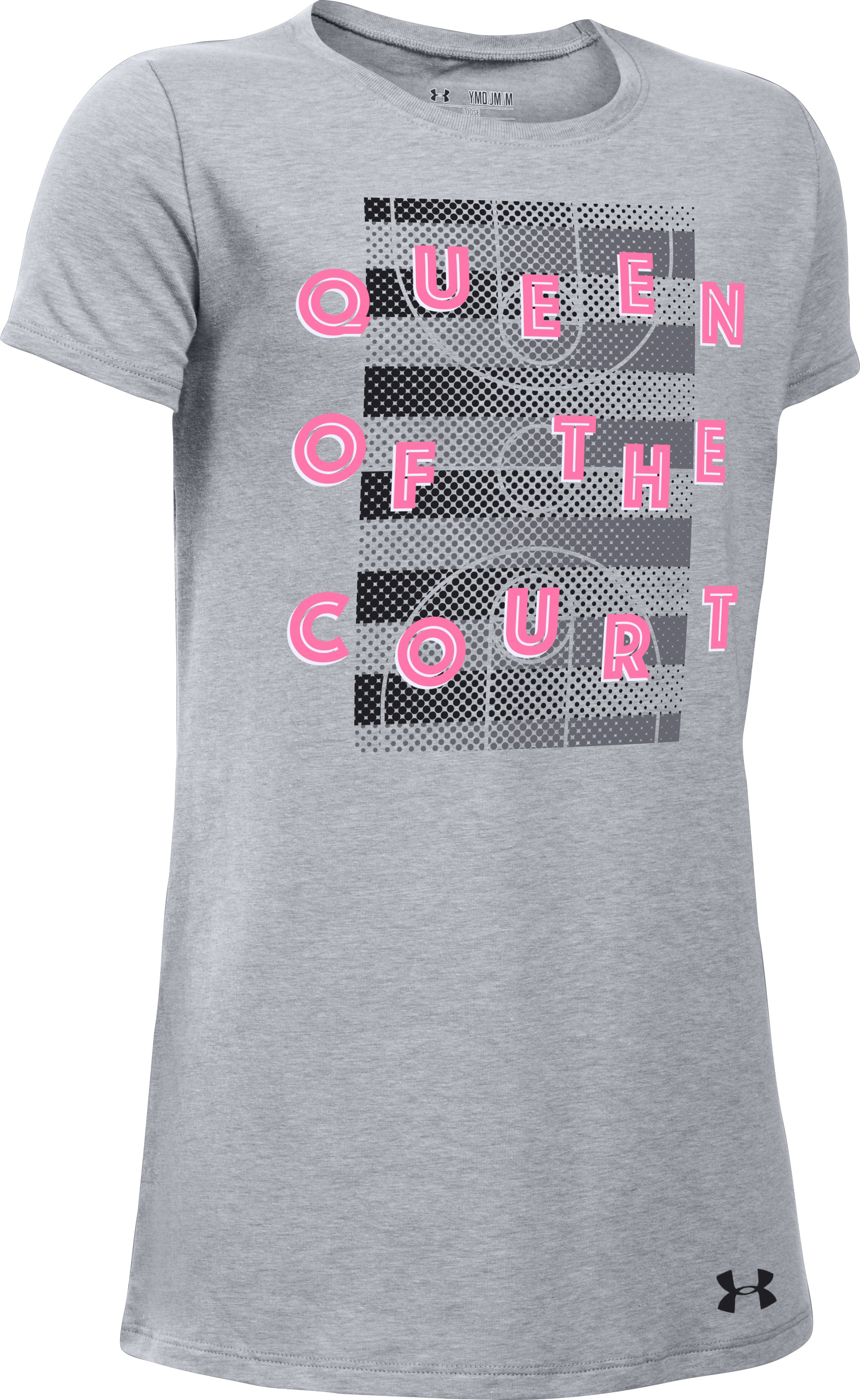 Girls' UA Queen Of The Court T-Shirt, STEEL LIGHT HEATHER,