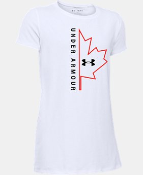 Girls' UA Canada Leaf Logo T-Shirt  1 Color $22.99