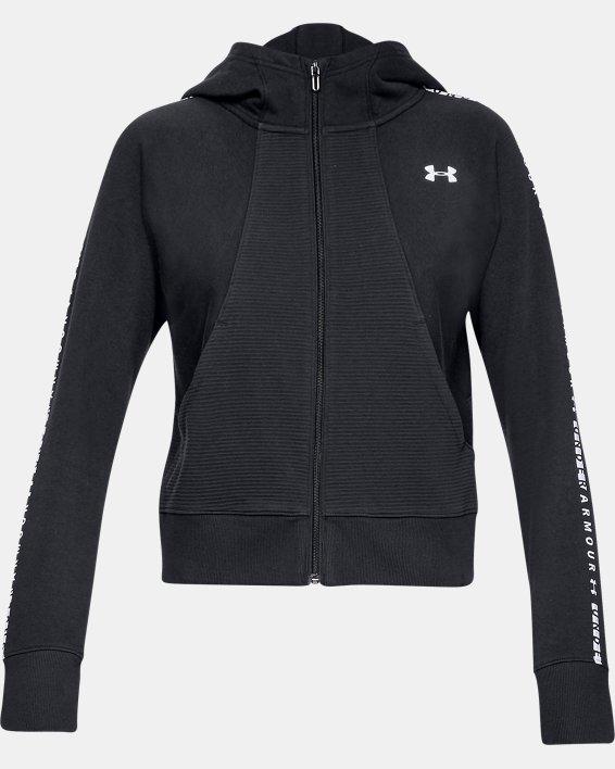 Women's UA Microthread Fleece Graphic Full Zip, Black, pdpMainDesktop image number 4