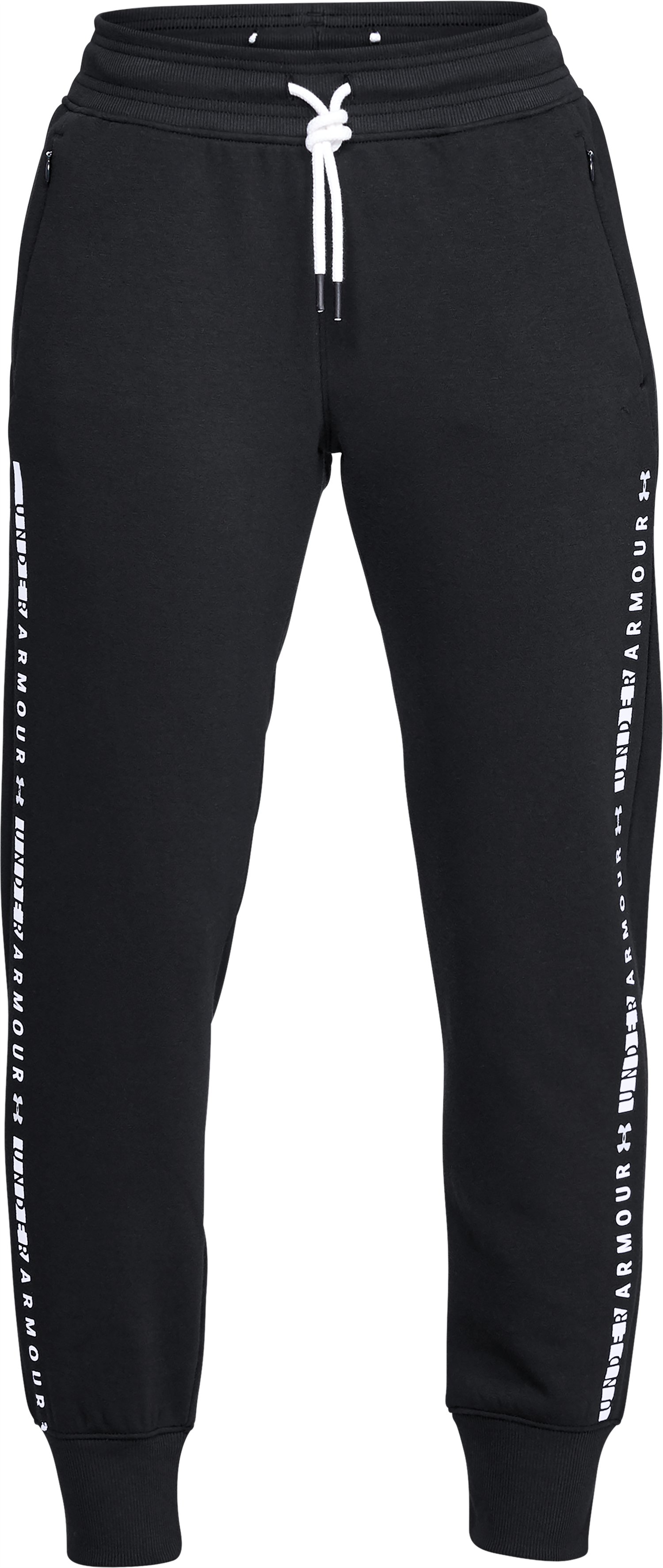 Women's UA Microthread Fleece Pants, Black ,