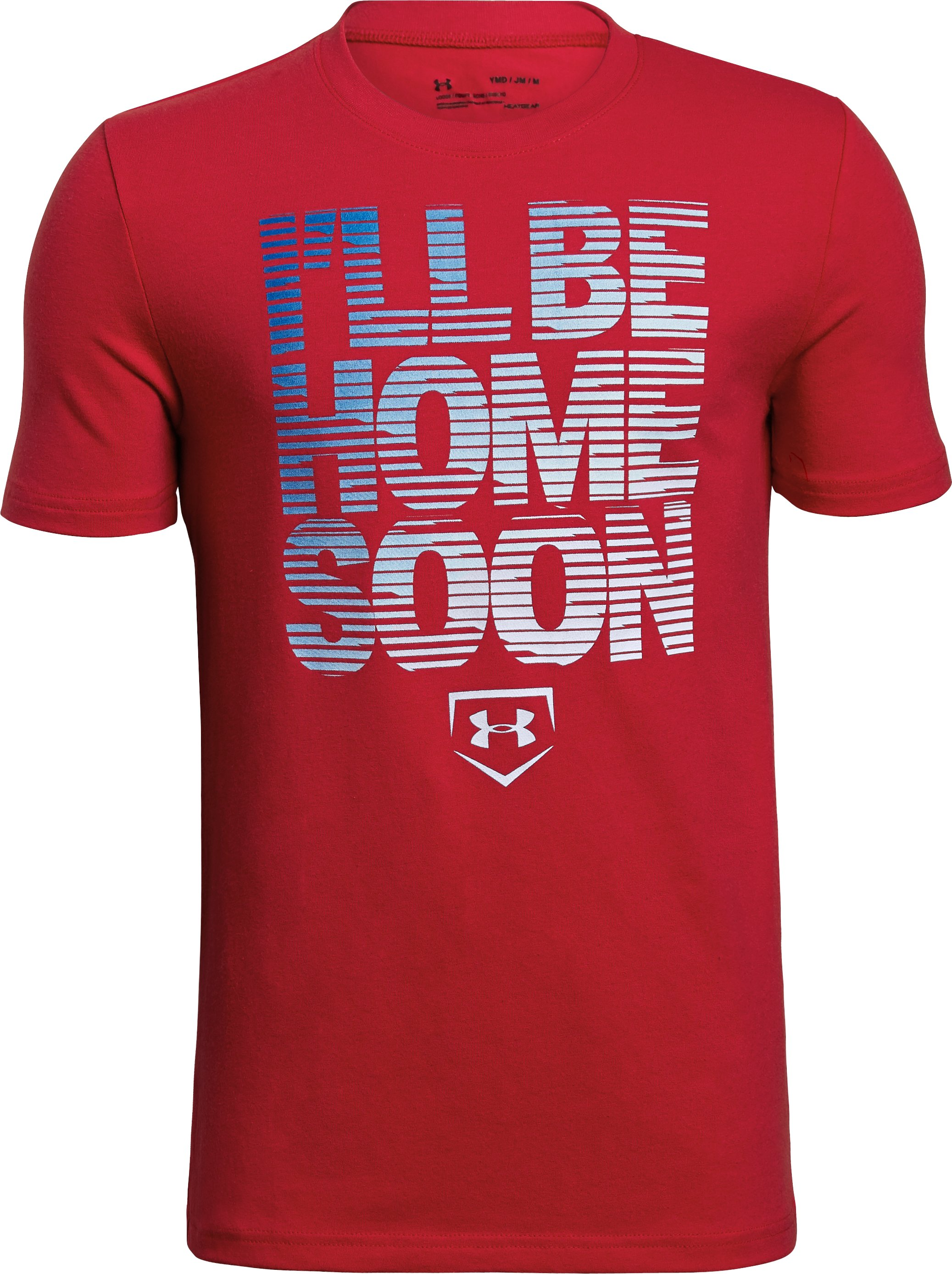 Boys' UA I'll Be Home Soon T-Shirt, Red,