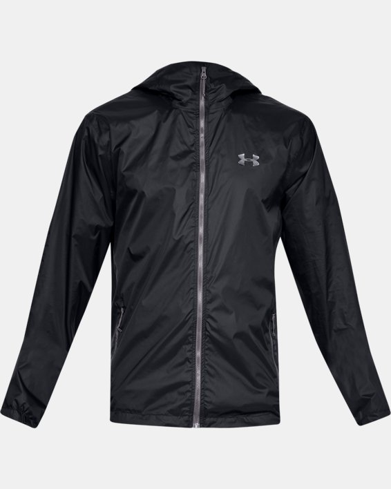 Men's UA Forefront Rain Jacket, Black, pdpMainDesktop image number 3