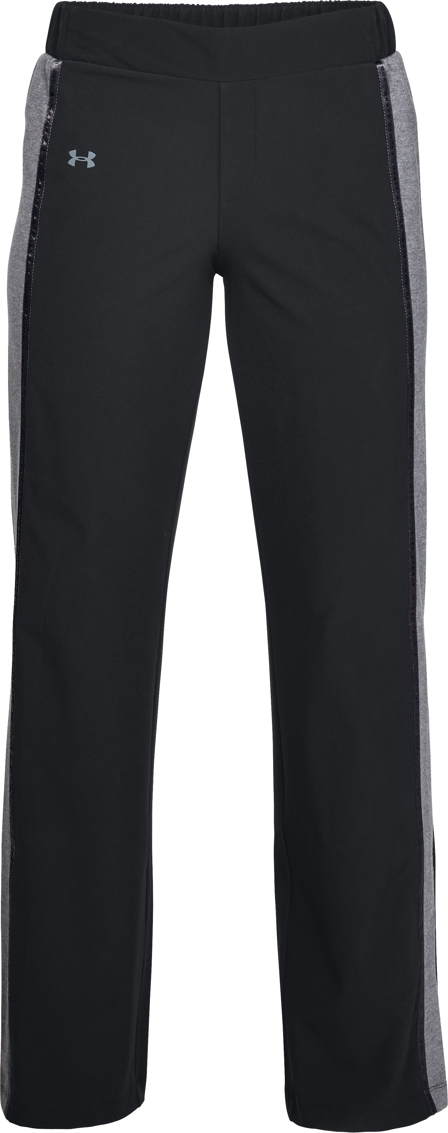 Women's UA Woven Wide Leg Pants, Black ,