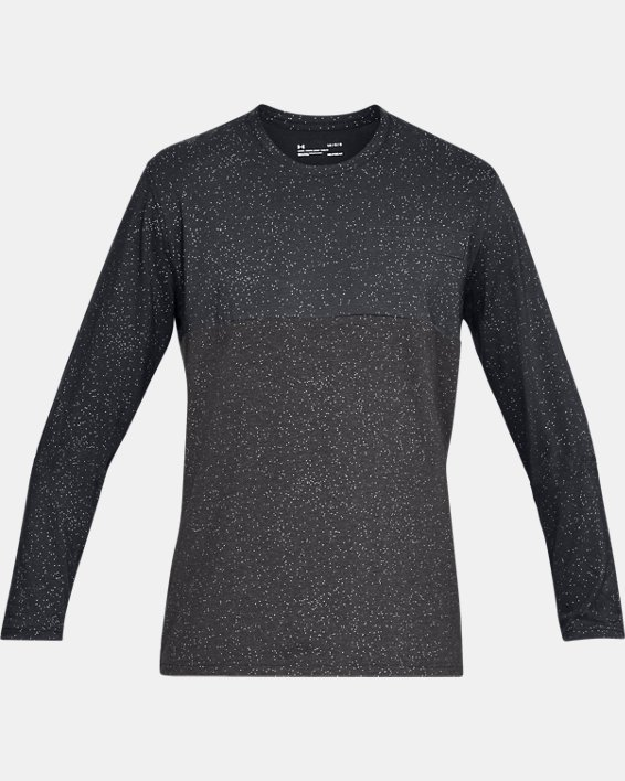 Men's UA Sportstyle Glitch Pattern Long Sleeve, Black, pdpMainDesktop image number 3