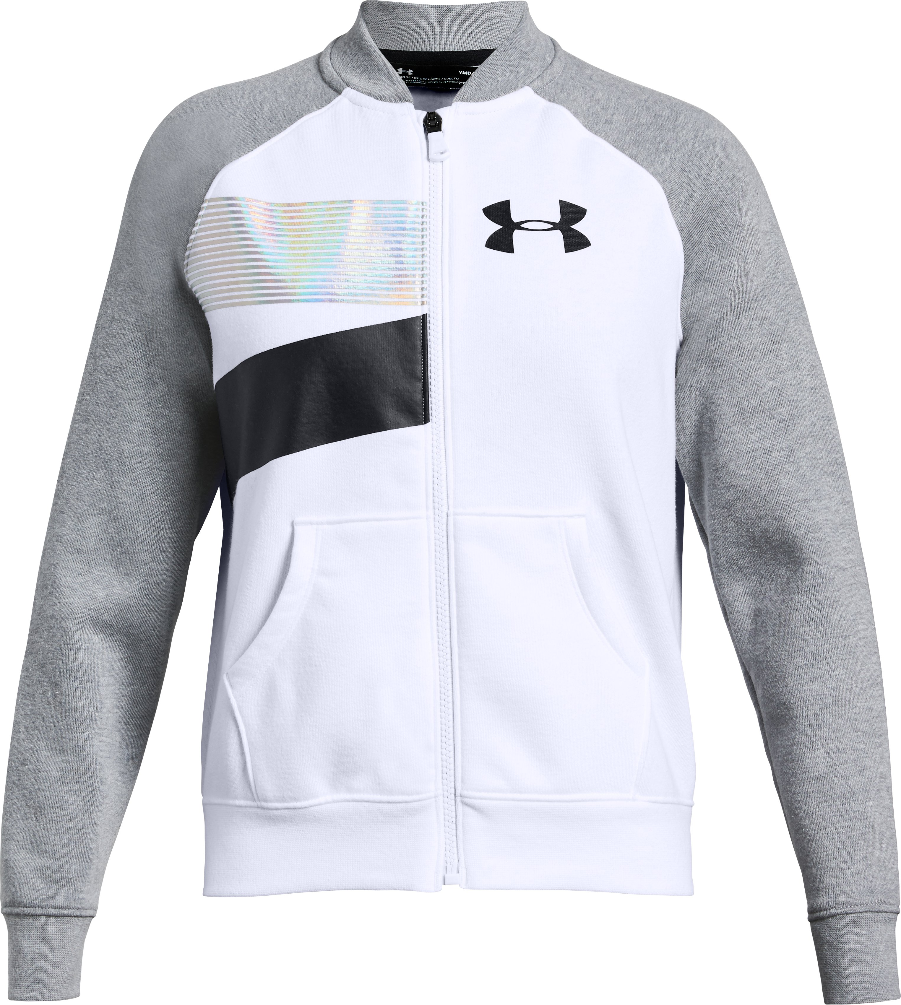 Girls' UA Rival Fleece Bomber Jacket, White,