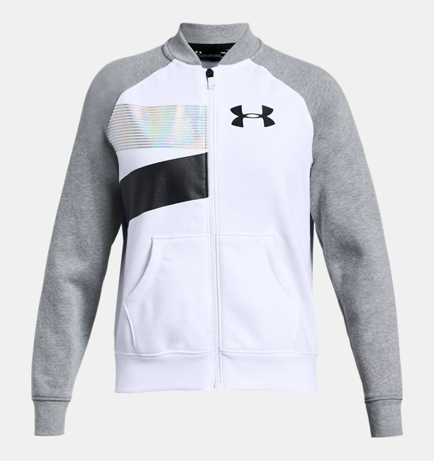 Girls' UA Rival Fleece Bomber Jacket, White, , White, Click to view full size