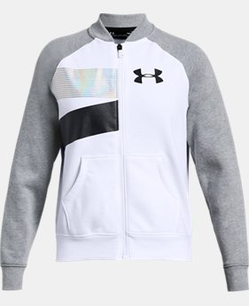 Girls' UA Rival Fleece Bomber Jacket  1  Color Available $60