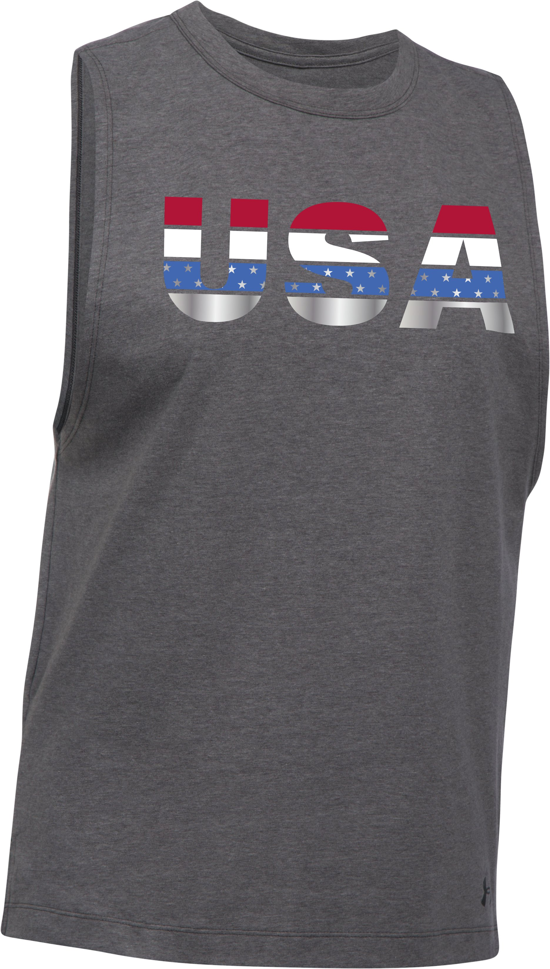 Women's UA USA Metallic Muscle Tank, Carbon Heather, undefined