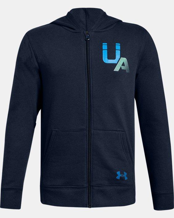 Boys' UA Rival Logo Full Zip, Navy, pdpMainDesktop image number 0