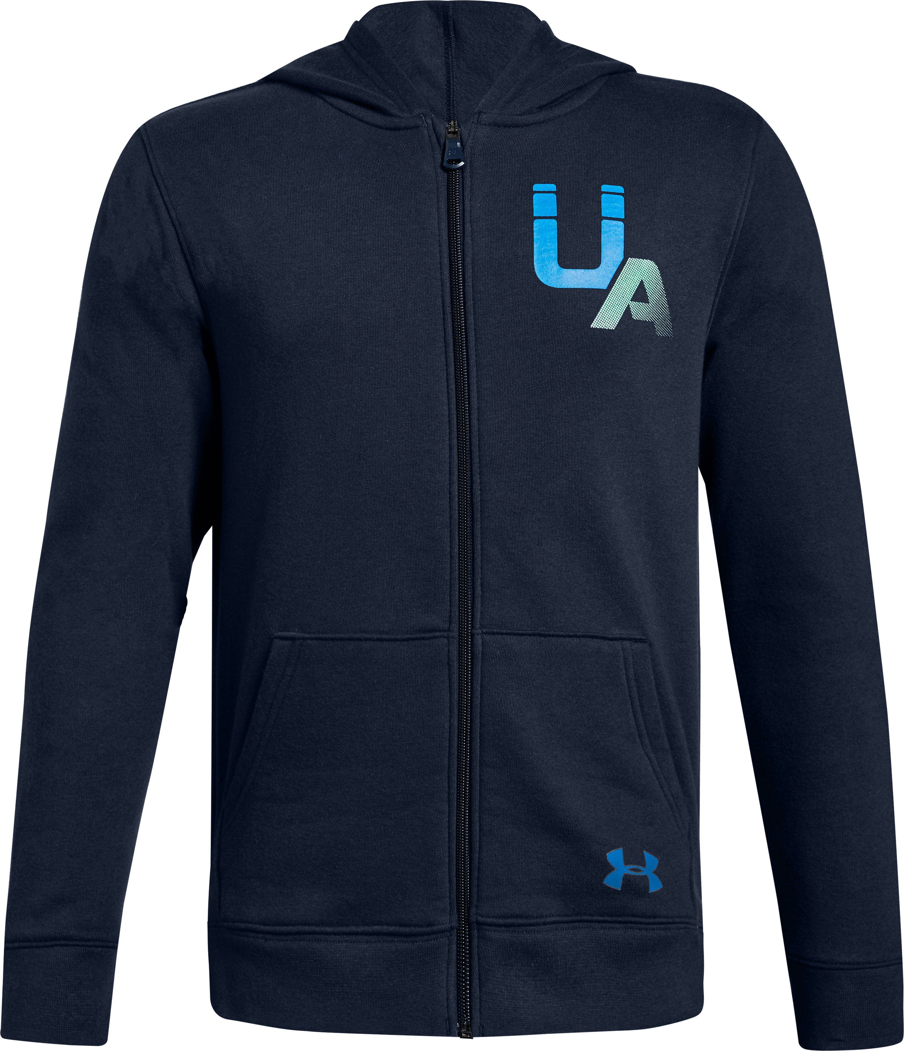 Boys' UA Rival Logo Full Zip, Academy, , Academy, Click to view full size