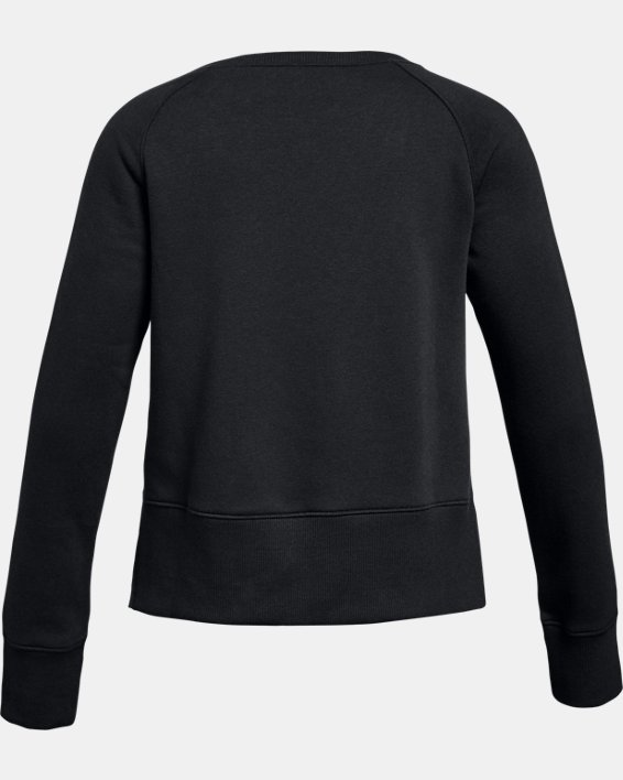 Girls' UA Rival Fleece Crew, Black, pdpMainDesktop image number 1