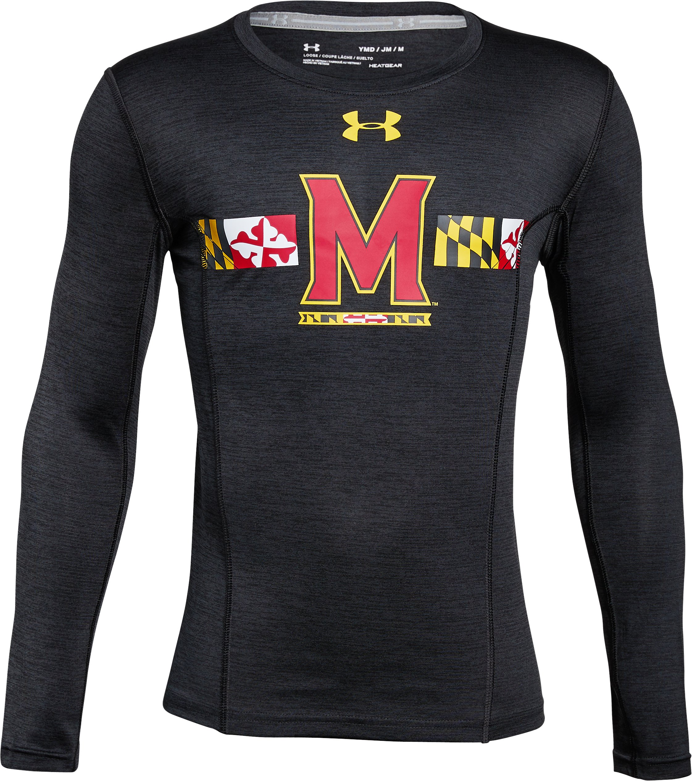 Boys' Maryland Long Sleeve Training T-Shirt, Black ,