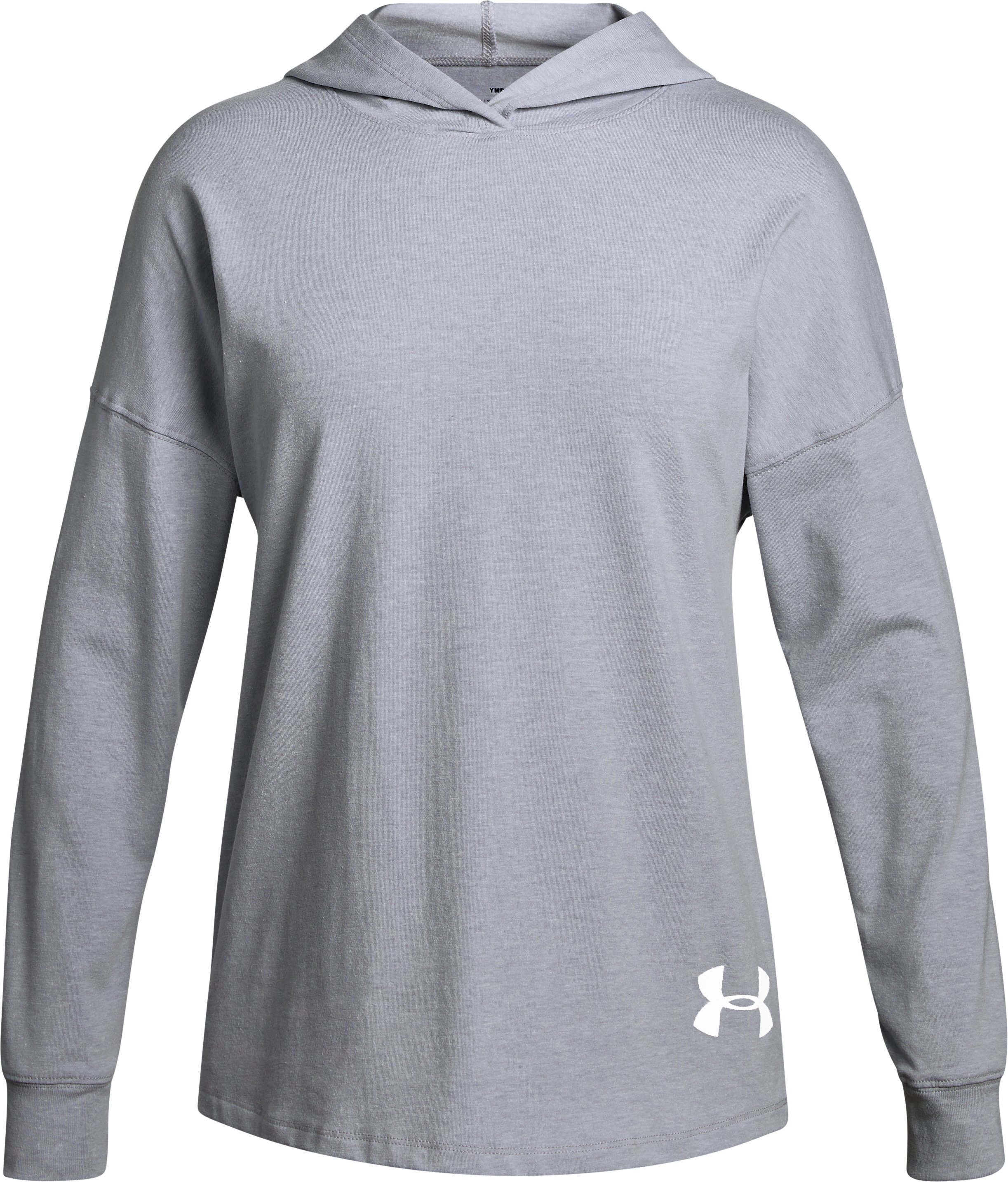 Girls' UA Girl Boss Knit Hoodie , OVERCAST GRAY LIGHT HEATHER